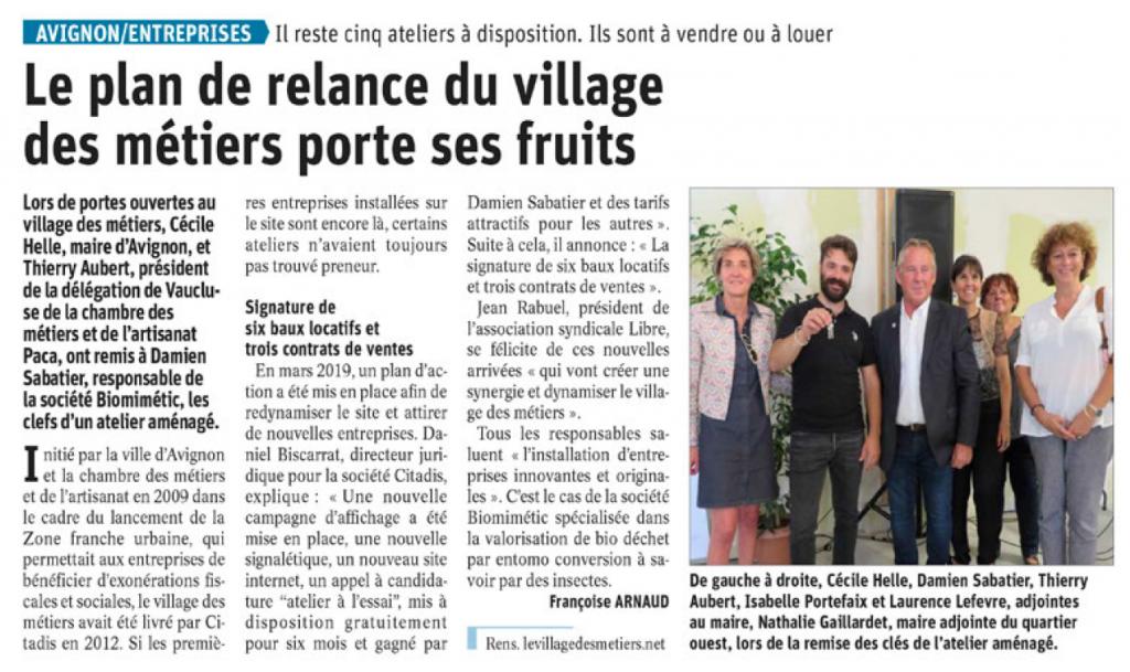 Article Vaucluse Matin portes ouvertes du 13 sept
